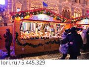 Купить «Сувениры на новогодней ярмарке на Красной площади в Москве», эксклюзивное фото № 5445329, снято 14 декабря 2013 г. (c) Алёшина Оксана / Фотобанк Лори