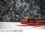 Записная книжка ручка, карандаш и листки (2014 год). Редакционное фото, фотограф Александр Сеничев / Фотобанк Лори