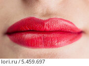 Купить «Extreme close up on sensual red lips», фото № 5459697, снято 30 мая 2013 г. (c) Wavebreak Media / Фотобанк Лори