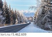 Дорога зимой на Аршан по Тункинской долине в предгорье Саян, фото № 5462609, снято 4 января 2014 г. (c) Виктория Катьянова / Фотобанк Лори