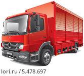 Купить «Красный грузовик на белом фоне», иллюстрация № 5478697 (c) Геннадий Поддубный / Фотобанк Лори