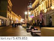 Купить «Никольская улица вечером», эксклюзивное фото № 5479853, снято 14 декабря 2013 г. (c) Алёшина Оксана / Фотобанк Лори