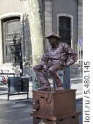 Купить «Живые скульптуры улицы Рамбла, Барселона, Испания», фото № 5480145, снято 23 сентября 2013 г. (c) Лада Иванова / Фотобанк Лори