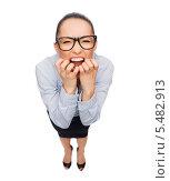 Купить «испуганная деловая девушка кусает свои пальцы», фото № 5482913, снято 8 декабря 2013 г. (c) Syda Productions / Фотобанк Лори