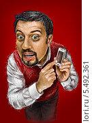 Парень с телефоном. Стоковая иллюстрация, иллюстратор Марк Назаров / Фотобанк Лори