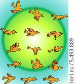 Летящие птички. Стоковая иллюстрация, иллюстратор Bakhtiyor Kakharov / Фотобанк Лори