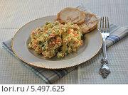 Купить «Традиционный салат Оливье и рулет из курицы на тарелке», эксклюзивное фото № 5497625, снято 19 января 2014 г. (c) lana1501 / Фотобанк Лори