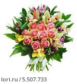 Букет из роз, орхидей и лилий на белом фоне. Стоковое фото, фотограф Олег Родионов / Фотобанк Лори