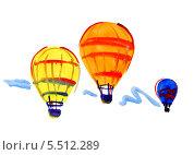 Аэростаты, акварельный рисунок. Стоковая иллюстрация, иллюстратор Гузель Гайсина / Фотобанк Лори