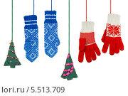 Купить «Варежки и игрушечные елки», фото № 5513709, снято 17 ноября 2013 г. (c) Дмитрий Грушин / Фотобанк Лори