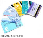 Купить «Разные билеты общественного транспорта города Москвы. Изолированно на белом», фото № 5519341, снято 13 января 2014 г. (c) SevenOne / Фотобанк Лори