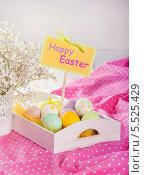 Красочный натюрморт с разноцветными пасхальными яйцами. Стоковое фото, фотограф Елена Ефимова / Фотобанк Лори