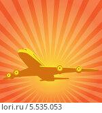 Летящий самолет на фоне желто-оранжевых солнечных лучей. Стоковая иллюстрация, иллюстратор Alioshin.aleksey / Фотобанк Лори