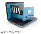 Купить «Хранение данных. Ноутбук с ящиком-сейфом», иллюстрация № 5539981 (c) Maksym Yemelyanov / Фотобанк Лори