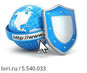 Купить «Глобус и синий щит», иллюстрация № 5540033 (c) Maksym Yemelyanov / Фотобанк Лори