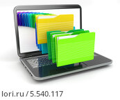 Ноутбук и компьютерные файлы в папках. Стоковая иллюстрация, иллюстратор Maksym Yemelyanov / Фотобанк Лори