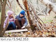 Купить «Мальчик и девочка сидят в хижине, построенной между берез в осеннем парке», фото № 5542353, снято 21 октября 2012 г. (c) Losevsky Pavel / Фотобанк Лори