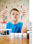 Купить «Мальчик в голубой футболке за столом с химическими реагентами, держит в руках пробирки с разноцветными жидкостями», фото № 5543797, снято 20 мая 2012 г. (c) Losevsky Pavel / Фотобанк Лори