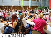 Купить «Выступление молодежи на Global Youth Voice, Международный конгресс AIESEC 2012 в МГИМО, 18 августа 2012 года в Москве, Россия», фото № 5544817, снято 18 августа 2012 г. (c) Losevsky Pavel / Фотобанк Лори