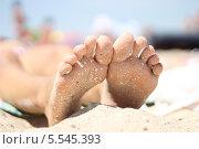 Ноги на пляже. Стоковое фото, фотограф Елена Белоус / Фотобанк Лори