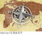 Купить «Навигационный символ и политическая карта мира», фото № 5554577, снято 19 августа 2019 г. (c) Maksym Yemelyanov / Фотобанк Лори