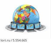 Купить «Интернет. Глобальные коммуникации. Земля и ноутбуки», иллюстрация № 5554665 (c) Maksym Yemelyanov / Фотобанк Лори
