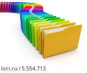 Купить «Ряд разноцветных компьютерных папок на белом фоне», фото № 5554713, снято 21 ноября 2019 г. (c) Maksym Yemelyanov / Фотобанк Лори