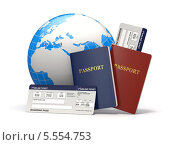 Купить «Паспорта, авиабилеты и глобус», иллюстрация № 5554753 (c) Maksym Yemelyanov / Фотобанк Лори