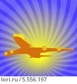 Летящий самолет на фоне синего неба и солнца. Стоковая иллюстрация, иллюстратор Alioshin.aleksey / Фотобанк Лори