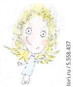 Ангел порхающий. Стоковая иллюстрация, иллюстратор Инна Багаева / Фотобанк Лори