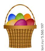 Корзина с пасхальными яйцами. Стоковая иллюстрация, иллюстратор Светлана Шаповалова / Фотобанк Лори