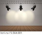 Купить «Прожектора, светящие на белую стену», иллюстрация № 5564681 (c) Maksym Yemelyanov / Фотобанк Лори
