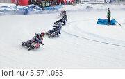 Купить «Мотогонки на льду», фото № 5571053, снято 9 февраля 2014 г. (c) Зюкалин Дмитрий Михайлович / Фотобанк Лори