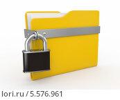 Купить «Конфиденциальные файлы. Желтая папка на замке», иллюстрация № 5576961 (c) Maksym Yemelyanov / Фотобанк Лори