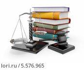 Концепция правосудия. Судейский молоток, весы и стопка книг. Стоковая иллюстрация, иллюстратор Maksym Yemelyanov / Фотобанк Лори