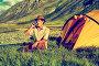 Турист в лагере пьет чай на Алтае, фото № 5579785, снято 26 июля 2007 г. (c) Serg Zastavkin / Фотобанк Лори