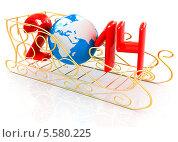 Купить «Золотые санки с 2014 годом», иллюстрация № 5580225 (c) Guru3d / Фотобанк Лори