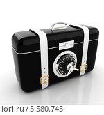 Купить «Черный чемодан-сейф, на белом фоне с отражением», иллюстрация № 5580745 (c) Guru3d / Фотобанк Лори