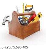 Деревянный ящик с рабочими инструментами, изолированно на белом фоне. Стоковая иллюстрация, иллюстратор Maksym Yemelyanov / Фотобанк Лори