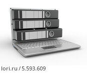 Купить «Папки в мониторе ноутбука на белом фоне», иллюстрация № 5593609 (c) Maksym Yemelyanov / Фотобанк Лори