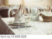 Купить «Сервировка стола в ресторане», фото № 5609029, снято 7 марта 2013 г. (c) Оксана Ковач / Фотобанк Лори