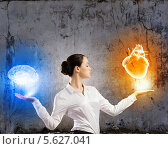 Купить «Бизнесвумен взвешивает в руках мозг и сердце.», фото № 5627041, снято 9 июля 2018 г. (c) Sergey Nivens / Фотобанк Лори
