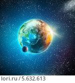 Купить «Вид на Землю и Луну из открытого космоса», фото № 5632613, снято 19 января 2019 г. (c) Sergey Nivens / Фотобанк Лори