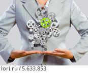 Купить «Концепция организации работы. Бизнес-леди и шестерни в ее руках», фото № 5633853, снято 7 июня 2013 г. (c) Sergey Nivens / Фотобанк Лори