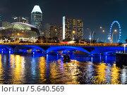 Пейзаж Сингапура, мост Esplanade вечером. Стоковое фото, фотограф Nikolay Grachev / Фотобанк Лори