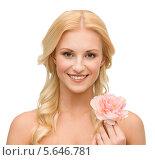 Купить «Красивая девушка с распущенными волосами и розовым пионом», фото № 5646781, снято 9 марта 2013 г. (c) Syda Productions / Фотобанк Лори