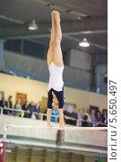 Купить «Спортивная гимнастика, девушка выполняет упражнения на брусьях», фото № 5650497, снято 15 декабря 2012 г. (c) Losevsky Pavel / Фотобанк Лори