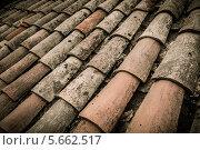 Купить «Старая крыша из черепицы», фото № 5662517, снято 16 февраля 2014 г. (c) Andrejs Pidjass / Фотобанк Лори