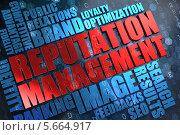 Красная надпись Reputation Management на фоне голубого текста. Стоковая иллюстрация, иллюстратор Илья Урядников / Фотобанк Лори