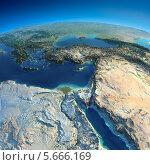 Объёмная карта земли, Египет и Средиземное море. Стоковая иллюстрация, иллюстратор Антон Балаж / Фотобанк Лори